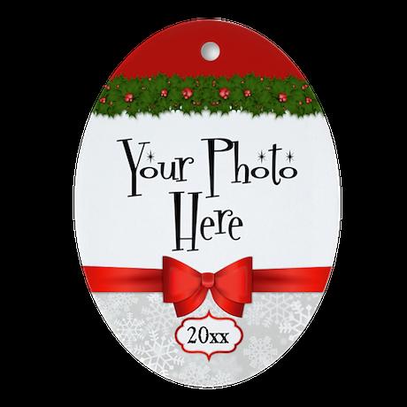 Christmas Holly Custom Photo Oval Ornament