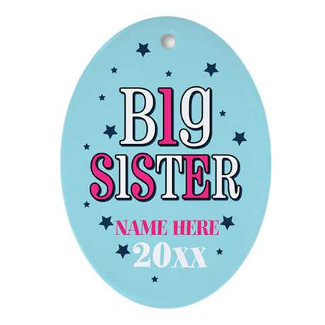 Personalized Big Sister Oval Ornament