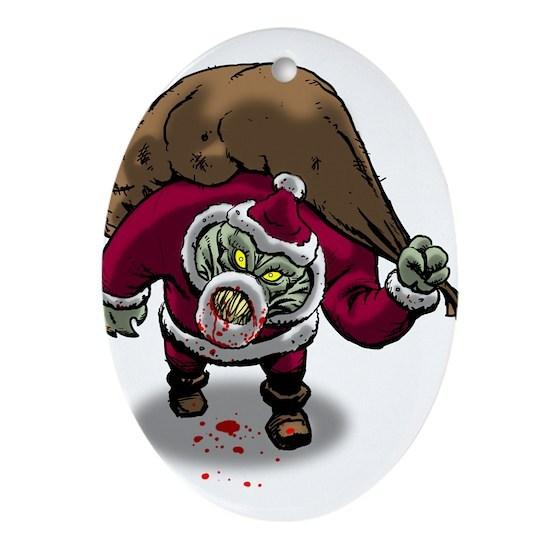 Horror Zombie Santa Claus Ornament (Oval) by Tony's Comics ...