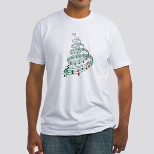 Christmas tree with music notes and heart Fitted T