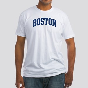 BOSTON design (blue) Fitted T-Shirt