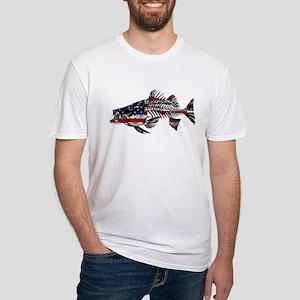 9809999d Rock Fishing. Striped Bass Skeleton T-Shirt