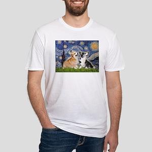 Starry Night / Corgi pair Fitted T-Shirt
