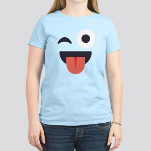 Winky Tongue Emoji Face Women's Light T-Shirt