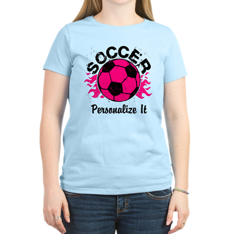 Personalized Soccer Flames Women's Light T-Shirt