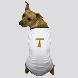 Golden Franciscan Tau Cross Dog T-Shirt
