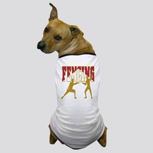 Fencing Logo (Red & Gold) Dog T-Shirt