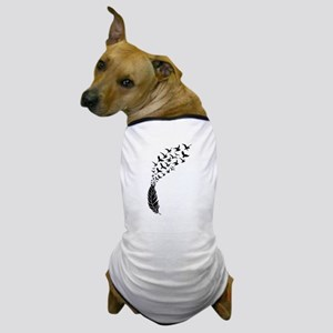 Black feather with birds Dog T-Shirt