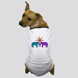 Colorful Elephants Dog T-Shirt