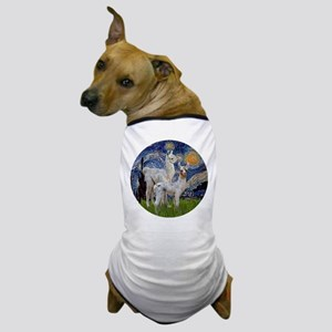 Starry Night with two Baby Llamas Dog T-Shirt