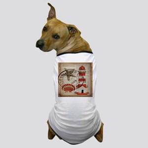 vintage lighthouse sea shells Dog T-Shirt