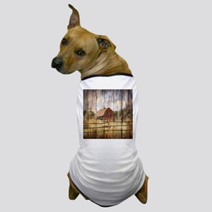 farm red barn wood texture Dog T-Shirt