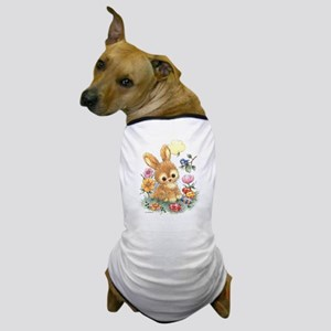 Cute Easter Bunny with Flowers and Eggs Dog T-Shir