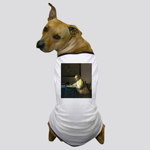 A Lady Writing by Johannes Vermeer Dog T-Shirt