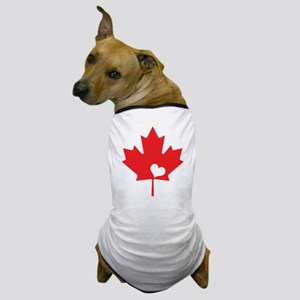 Canada Day Maple Leaf and Heart Dog T-Shirt