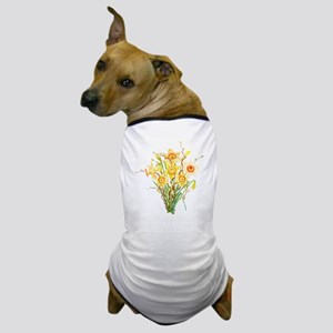 Watercolor Daffodils Spring Flowers  Dog T-Shirt