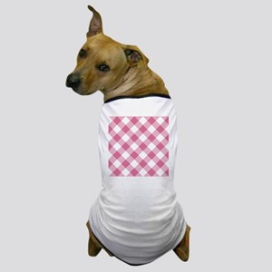 Pale Violet Red and White Gingham Dog T-Shirt