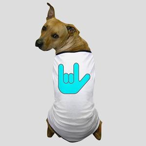 I Love You Cyan Dog T-Shirt