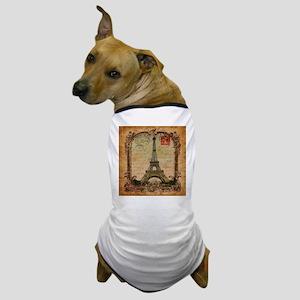 vintage scripts postage paris eiffel t Dog T-Shirt