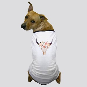 Bull Head Flowers Dog T-Shirt