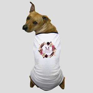 Boho Wreath Wedding Monogram Dog T-Shirt