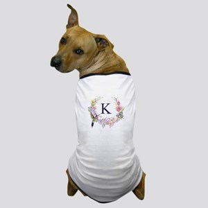 Hummingbird Floral Wreath Monogram Dog T-Shirt