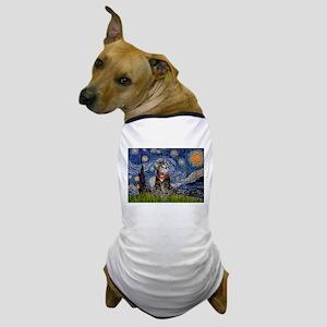 Starry Night / Tiger Cat Dog T-Shirt
