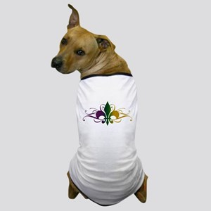 Purple Green Gold Fleur De Lis Dog T-Shirt