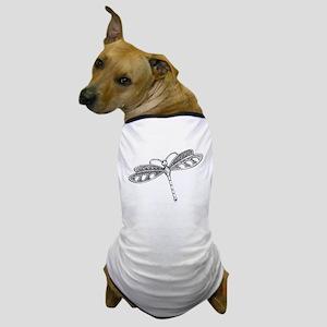 Metallic Silver Dragonfly Dog T-Shirt