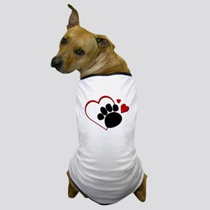 Dog Paw Print with Love Heart Dog T-Shirt