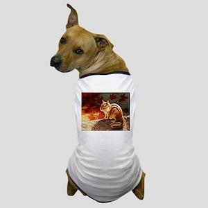 Glowing Chipmunk in Autumn Sun Dog T-Shirt