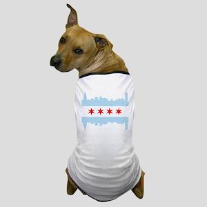 Chicago Flag Skyline Dog T-Shirt