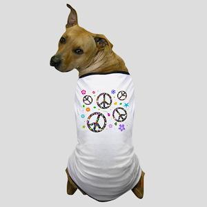 Peace symbols and flowers pat Dog T-Shirt