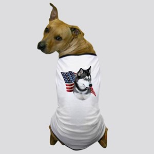 Husky(blk) Flag Dog T-Shirt