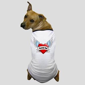 Mom Tattoo Winged Heart Dog T-Shirt