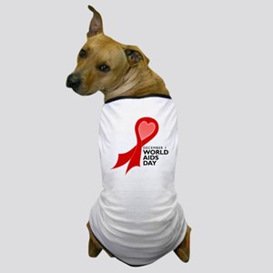Worlds AIDS Day Red Ribbon Dog T-Shirt