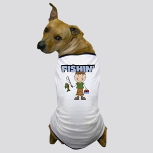 Stick Figure Boy Fishin' Dog T-Shirt