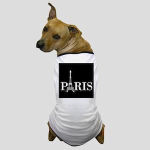 Paris Eiffel Tower Black White Dog T-Shirt