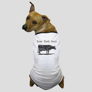 Distressed Cow Silhouette (Custom) Dog T-Shirt