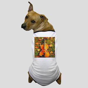romantic fall leaves violin Dog T-Shirt