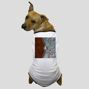 Western turquoise tooled leather Dog T-Shirt