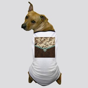 cow hide western leather Dog T-Shirt