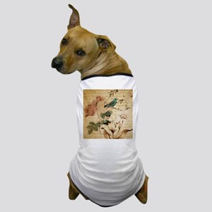 teal bird vintage roses botanical art Dog T-Shirt