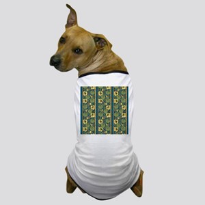 Blue and Yellow Floral Nouveau Dog T-Shirt