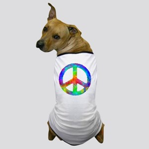 Distressed Rainbow Peace Sign Dog T-Shirt