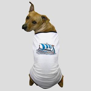 Blue Viking Ship Dog T-Shirt
