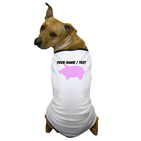 Custom Pink Piggy Silhouette Dog T-Shirt