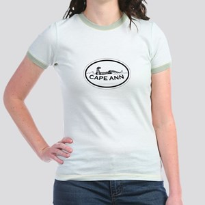 Cape Ann - Oval Design. Jr. Ringer T-Shirt