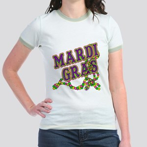 Mardi Gras in Purple and Green Jr. Ringer T-Shirt