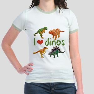 I Love Dinos Jr. Ringer T-Shirt